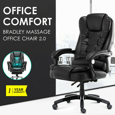 AU113.99 • Buy Executive Massage Office Chair PU Leather Recliner Computer Chair Gaming Seat