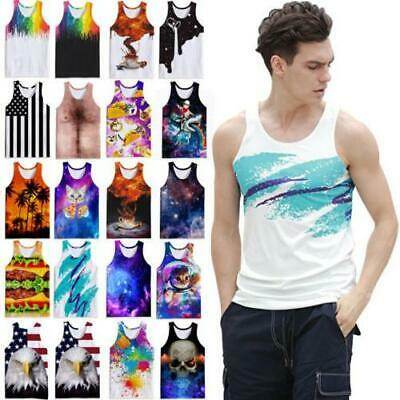 £10.99 • Buy Summer Men's Tank Tops Vest Casual 3D Printed Graphics Tees Sleeveless T-Shirts