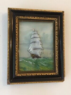 Antique 19th Century Miniature Ship At Sea Seascape Waves Impressionist Painting • 30£