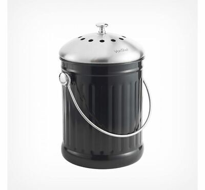 £27.99 • Buy NEW Black And Silver Kitchen Composting Compost Bin & Filter