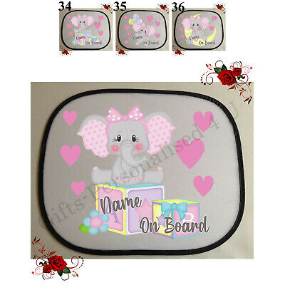 £7.99 • Buy 1 Personalised Car Sun Screen Shade - Baby Toddler Child Elephant Design 34