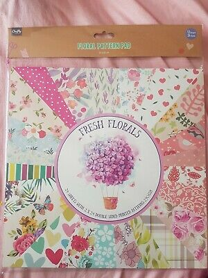 £9.99 • Buy Fresh Floral Pattern Paper Pad Scrapbooking Card 24 Sheets 30x30cm 250gsm New
