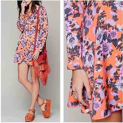 $45 • Buy Free People Size 0 Parker Floral Long Sleeve Mini Dress