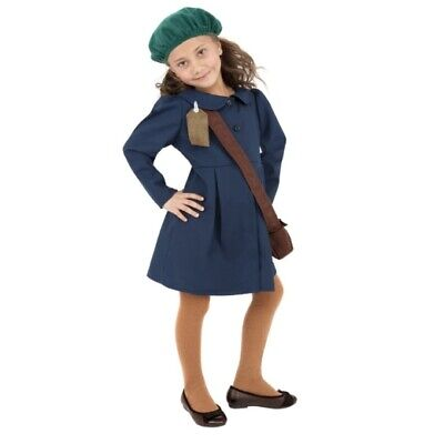 £12.99 • Buy Smiffy's Wartime Evacuee Girl Blue History Book Day Fancy Dress Costume - SMALL