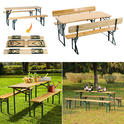 £219.95 • Buy 4-8 Seater Folding BBQ Camping Picnic Table Bench Set Wood Outdoor Garden Chairs