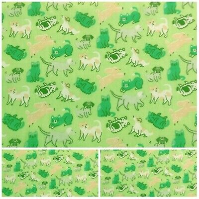 £2.55 • Buy GREEN CAT DOG Polycotton Fabric Craft Metre Material Offer