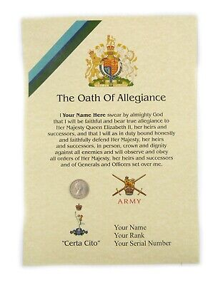 £11.79 • Buy Royal Corps Of Signals Oath Of Allegiance Certificate