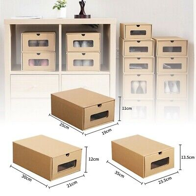 £9.70 • Buy Shoes Box Cardboard Shoe Storage Drawer Kraft Paper Case Boxes Stackable Clear
