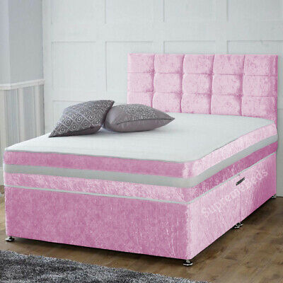 £329.99 • Buy Brand New Crushed Velvet Divan Bed With Cubed Headboard And Mattress All Sizes
