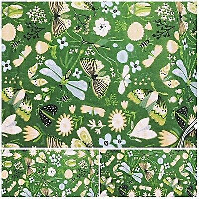 £3.70 • Buy BUTTERFLY FLORAL DRAGONFLY GREEN Offcut Remnant 75 Cm X 100 Cm Polycotton Fabric