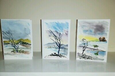 £3.95 • Buy Handmade Winter Snow Scene Holiday Cards Set Of 3 - Hand Painted!