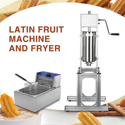 £508 • Buy Commercial Manual 5L Donuts Churros Machine Stainless Steel With 8L Deep Fryer