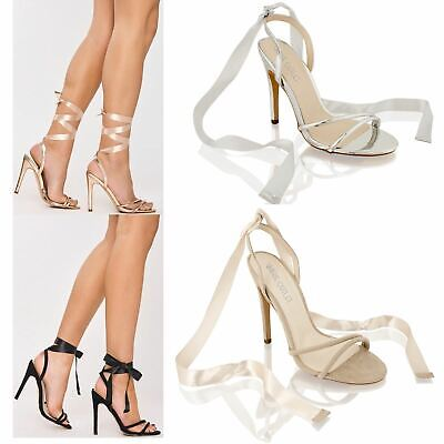 £9.99 • Buy Womens Ladies High Stiletto Heel Satin Lace Tie Up Party Evening Sandals Shoes