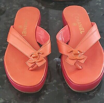 £354.21 • Buy Auth. Vintage Rare Chanel Red Leather Turn Lock Sandals,,thongs,flip Flops 38/8