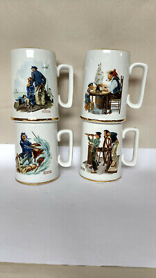 $ CDN30.17 • Buy Vintage 1985 Norman Rockwell Museum Coffee Mugs Cups Set Of 4 White W/ Gold Trim
