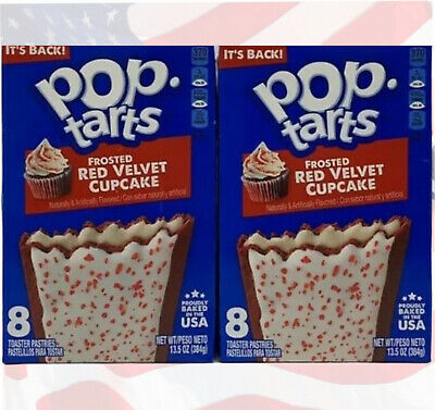 £12.99 • Buy Pop Tarts Frosted Red Velvet Cupcake 8 Pack From Kelloggs USA (3.5oz) X 2 Boxes