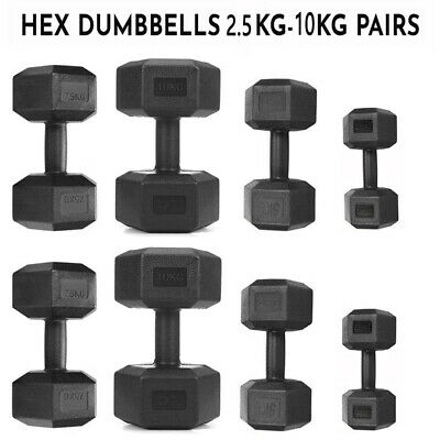 AU18.99 • Buy 2.5kg-10kg Pair Of Hex Dumbbells Iron Fixed Dumbbell Weight Set Exercise Workout