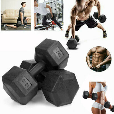 AU18.99 • Buy Hex Rubber Coat Iron Dumbell Home Gym Strength Weight Training Commercial Grade