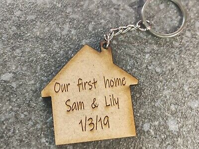 £3.79 • Buy Personalised First Home Keyring Wooden Gift House Gifts
