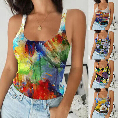 £9.71 • Buy UK Womens Floral Print Strappy Vest Tops Ladies Summer Casual Tank Top Camisole