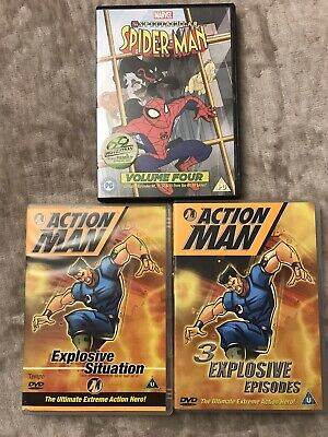 £4 • Buy Childrens DVD Bundle X3. Action Man Explosive Situation Cartoon X2 And Spiderman