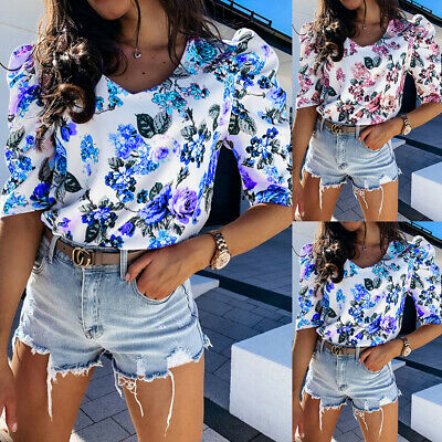 £6.89 • Buy Womens Summer Floral Puff Short Sleeve Blouse Ladies Holiday V Neck T-shirt Tops