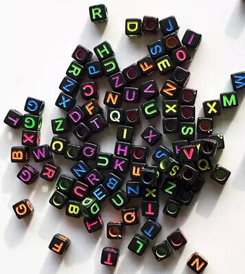 £1.95 • Buy 3 For 2 100 X 6mm BLACK & NEON ACRYLIC CUBE ALPHABET LETTER PONY BEADS MIXED A-Z