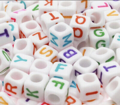 £1.95 • Buy 3 For 2 100 X 6mm WHITE COLOUR ACRYLIC CUBE ALPHABET LETTER PONY BEADS MIXED A-Z