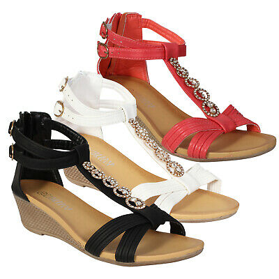 £8.99 • Buy Ladies Sandals Strappy Buckle Ring Detail Womens Summer Wedge Heel Shoes Size