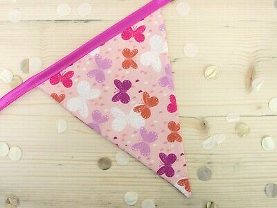 £14.99 • Buy Pink Butterfly Bunting (5.5m)  - Handmade, Double Sided Flags