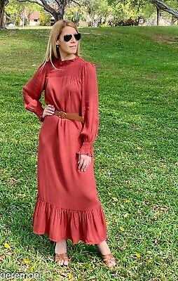 $33.50 • Buy ZARA Long Belted Dress Brick Color NWT (XS)S