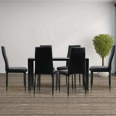 AU298.39 • Buy Artiss 7-pc Dining Table And Chairs Set Glass Tables Leather Seat Chair Black