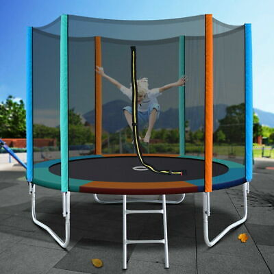 AU292.40 • Buy 8FT Trampoline Round Trampolines Kids Safety Net Enclosure Pad Outdoor Gift