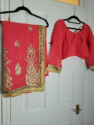 £20 • Buy Coral Pink Saree Sari Gold Border Stitched Blouse Size Large Wedding Party Wear