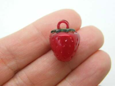 £1.95 • Buy 4 Strawberry Charms Green Red Acrylic FD699