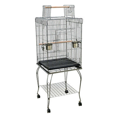 Open Play Top Birds Cage W Stand Parrot Aviary Budgie Conure Perch Castor Wheels • 59.95£