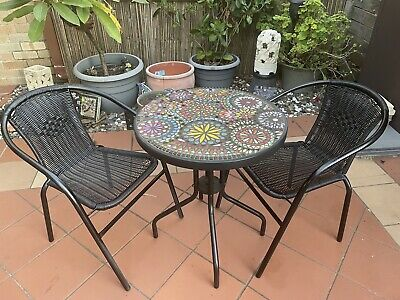 AU150 • Buy Up Cycled, Black And Mosaic Outdoor Furniture Setting. 3 Piece