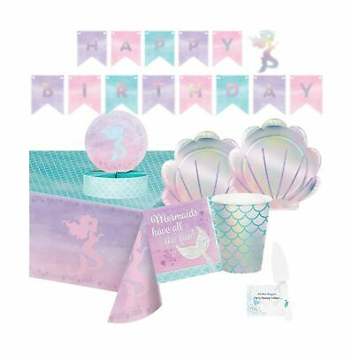 $50.67 • Buy Mermaid Party Supplies And Decorations - Iridescent Mermaid Party Plates And ...