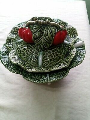 £15 • Buy Olfaire Caldas Portugal Green Cabbage Leaf Soup Tureen With Ladel