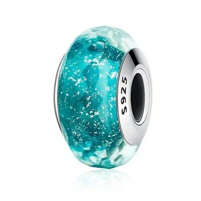 AU25.99 • Buy SOLID Sterling Silver Aqua Green Faceted Murano Glass Charm By Pandora's Wish