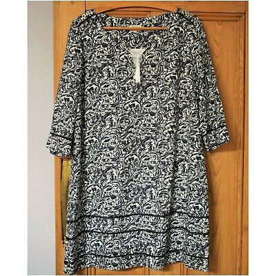 BRORA Exclusive Vintage Print Lined Pure Linen Tunic Dress Size 16 • 55£