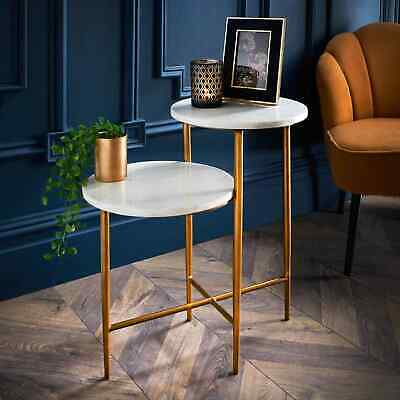 £64.80 • Buy 2 Tier Side Table Modern Side Coffee Table With Gold Legs & Solid Marble Top
