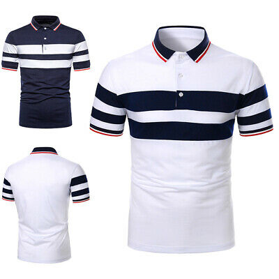 $22.29 • Buy Mens Short Sleeve Striped Polo Shirts Casual Sport Golf Badminton Slim Fit Tops