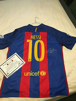 AU730 • Buy LIONEL MESSI SIGNED JERSEY  BARCELONA With Certification