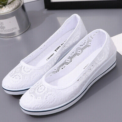 £14.99 • Buy Womens Slip On Shoes Ladies Low Comfy Wedge-Pumps Casual Loafers Trainers Size~