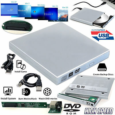 £7.99 • Buy USB 2.0 To IDE Laptop Silver CD DVD RW Rom External Caddy Case Enclosure Cover