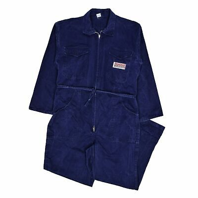 AU258.49 • Buy Vintage 70s Italian Workwear Coverall Blue Cotton Twill Overalls Boiler Suit M