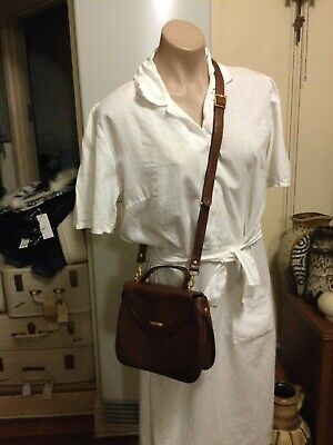 AU40 • Buy Rich Brown Leather OROTON Cross Body Shoulder Bag Gold Hardware