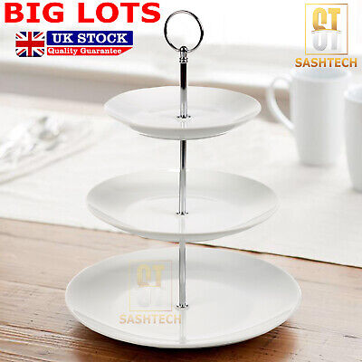 £10.99 • Buy Cake Stand Glass Ceramic Porcelain Afternoon Tea Wedding Plates Party Tableware