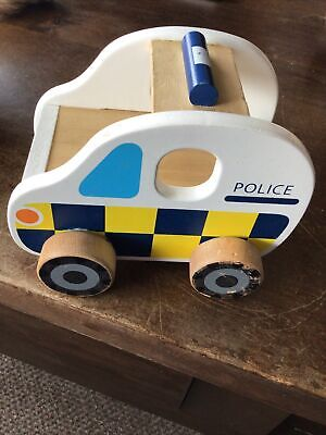 £3 • Buy Childs Wooden Push Along Police Car Toy